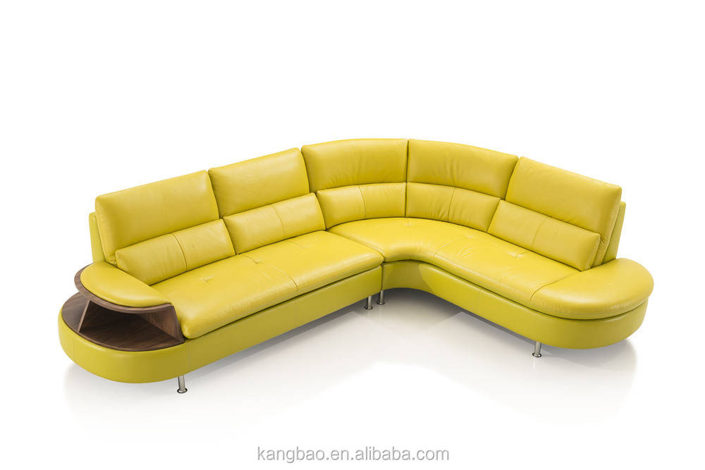 Kangbao Vv SofaL Shape Yellow Leather Sofa Setwood And