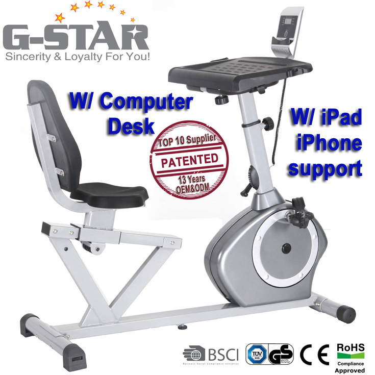 GS-8.5R-4 Recumbent Magnetic Exercise Bike Cycle with Desk Workstation