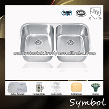 Big Kitchen Equal 2 Bowl Stainless Steel Sink With Drainer