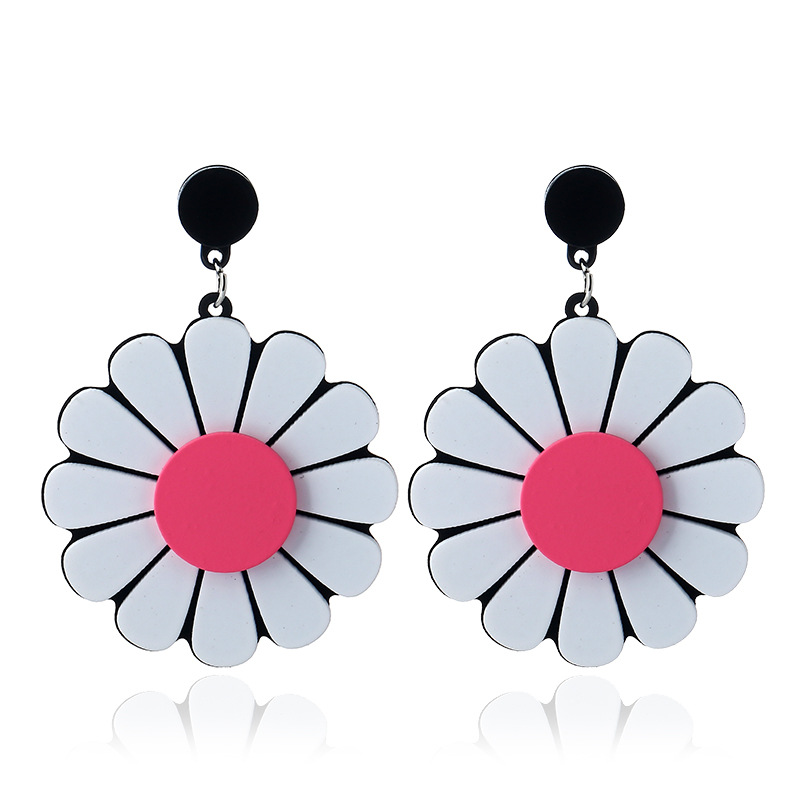 Cheap Acrylic Flower Earring Studs Daisy Floral Stud Earring Ear Jewelry For Young Girls