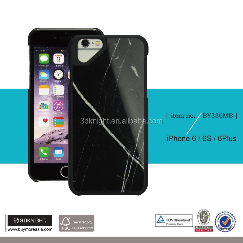 OEM ODM Customized Laser Engraving LOGO Optional Black White Natural REAL BLACK MARQUINA Marble Stone Phone Cover for iPhone 6S