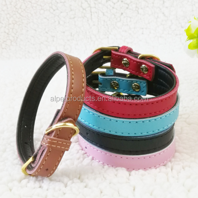 High Quality Real Leather Pet Collar Handmade Soft Logo Customize Luxury Dog Collar