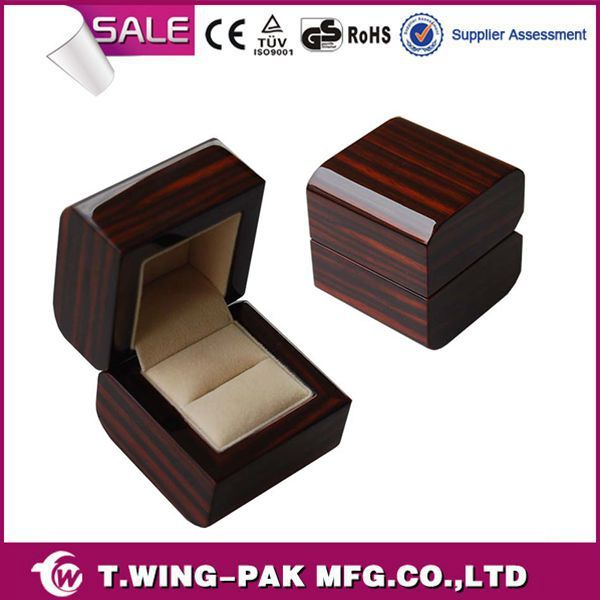 Wholesale Piano Finish Wood Velvet Jewelery Boxes For Ring Necklace Earring Watch