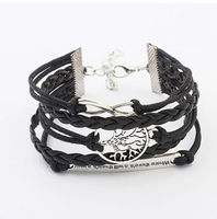 European Modern Multilayer Infinite Men's Leather braided bangles and bracelets