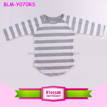 China factory cheap 100%soft feeling custom baseball tee shirts wholesale gray stripes curve bottom raglan