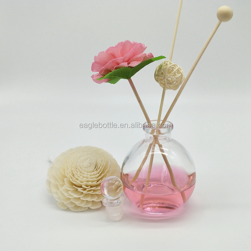 2017 Top sell fragrance diffuser glass bottle 120ml with glass ball stopper