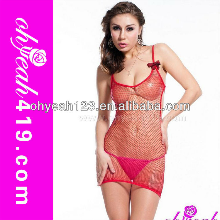 Popular style woman sexy red fishnet body stocking suit