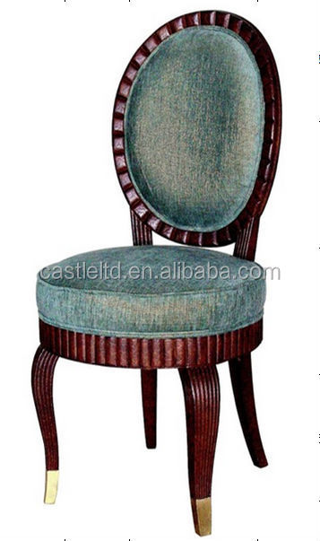 Antique carved wooden round back frech chair,upholstered round seat chair