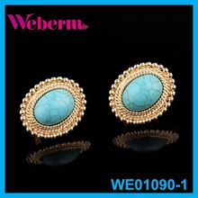Gold Jewellery Clip-on Oval Turquoise Earrings