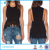Cotton fabric black blouse Lace patchworker sleeveless Asymmetrical blouse black casual