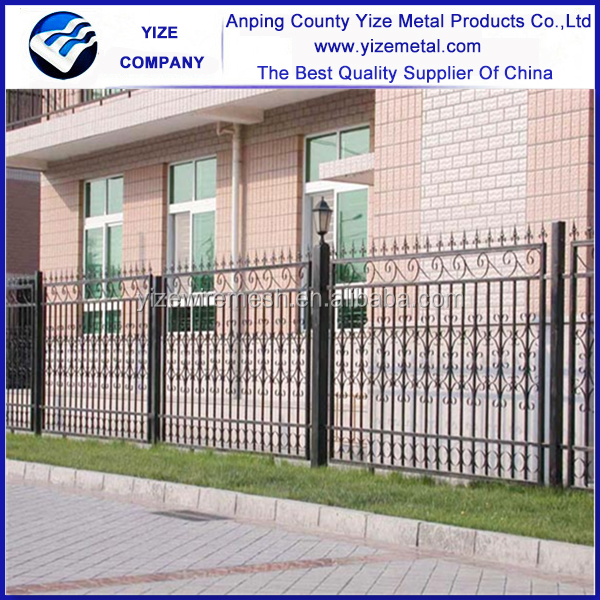 Garden Security Black Powder Coating Ornamental Wrought Iron Fence (Certified direct factory )