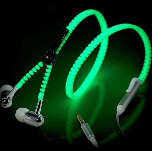 Christ gift In-Ear Metal Zipper Earphone 3.5mm Wired with Microphone Light Luminous Glowing in the dark Headset