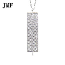 24k white gold necklace rhodium jewelry Crystal Diamond Pendant Necklace