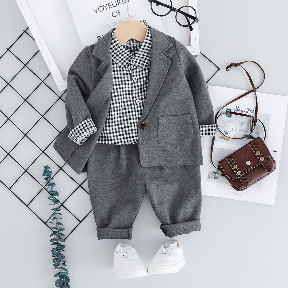 Kid Toddler Boy Formal Suit Clothing Sets Fashion 3PCS Toddler Girls Baby Suit for Boys <strong>Coat</strong> + Plaid Shirt + Pants 1 2 <strong>3</strong> 4 <strong>Y</strong>