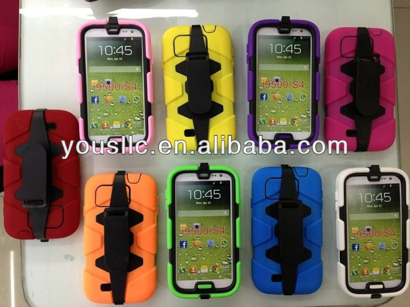 Heavy Duty Shock Proof Tough moblie phone Case for Samsung galaxy S4 N9500+ Belt Clip Holster