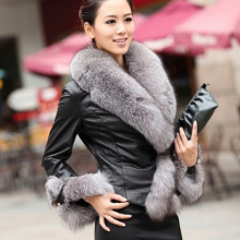 W4056 high end lady clothes faux fur collar women winter coat jacket
