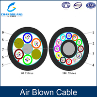 12 24 48 96 core SM/MM Air blown Fiber Optic Cable for HDPE micro duct