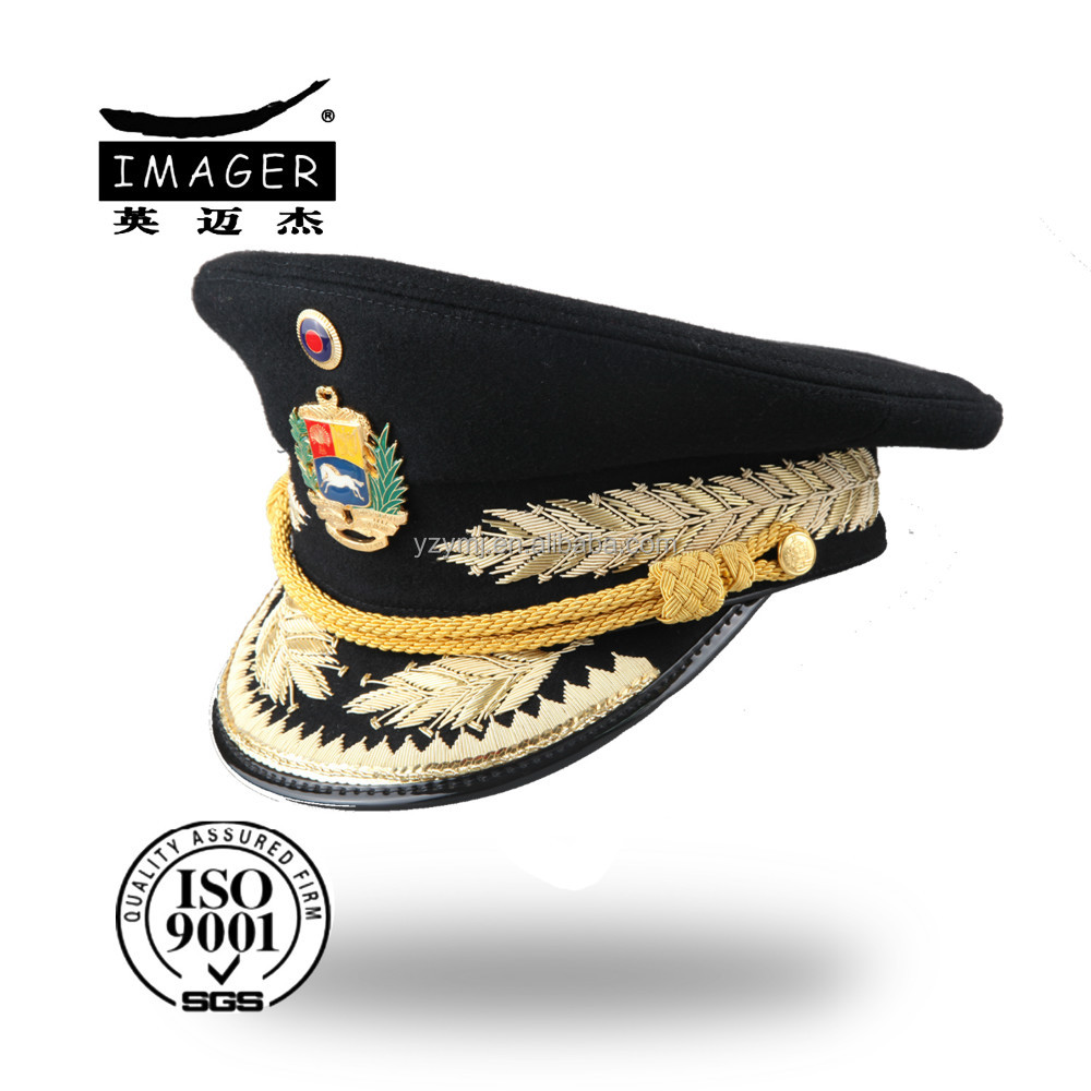 genuine leather military lieutenant colonel hat with logo embroidery