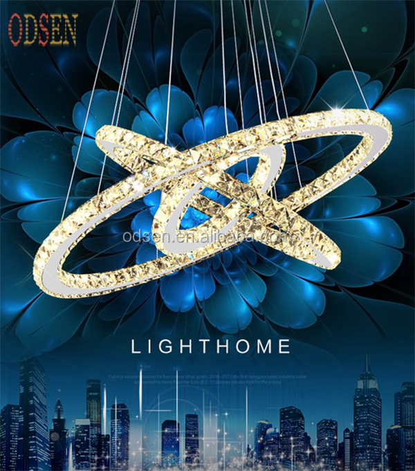 Modern design Luxury LED 3 rings Round Crystal Chandelier Pendant <strong>Light</strong> for decoration