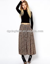 Wholesale Latest Skirt Design Pictures Leopard Long Maxi Skirt for Muslim Woman