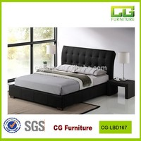 2016 modern leather bed high back designer bed for bedroom funiture
