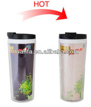 Changing colour Plastic Thermal magic coffee mug cups