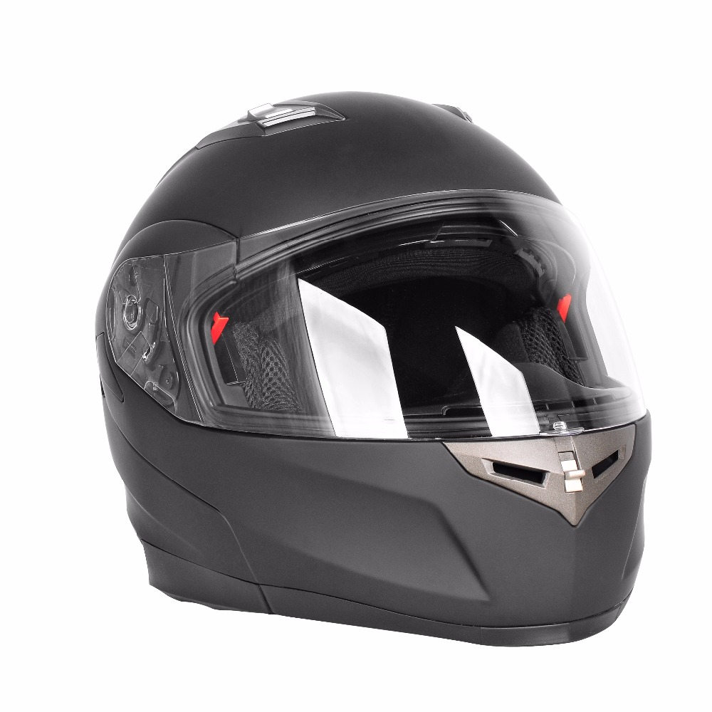 Motorcycle Helmets, Flip up Dual Visors Full Face Helmet with Built-in Bluetooth Intercom Communication System