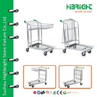 4 wheel metal tool cart / trolley , 4 wheels hand push cart for warehouse
