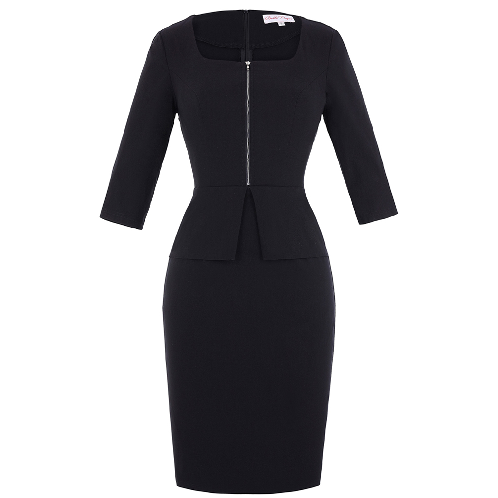 Belle Poque Retro Vintage Slim Fit 3/4 Sleeve Square Neck Bodycon Black Pencil Dress BP000147-1