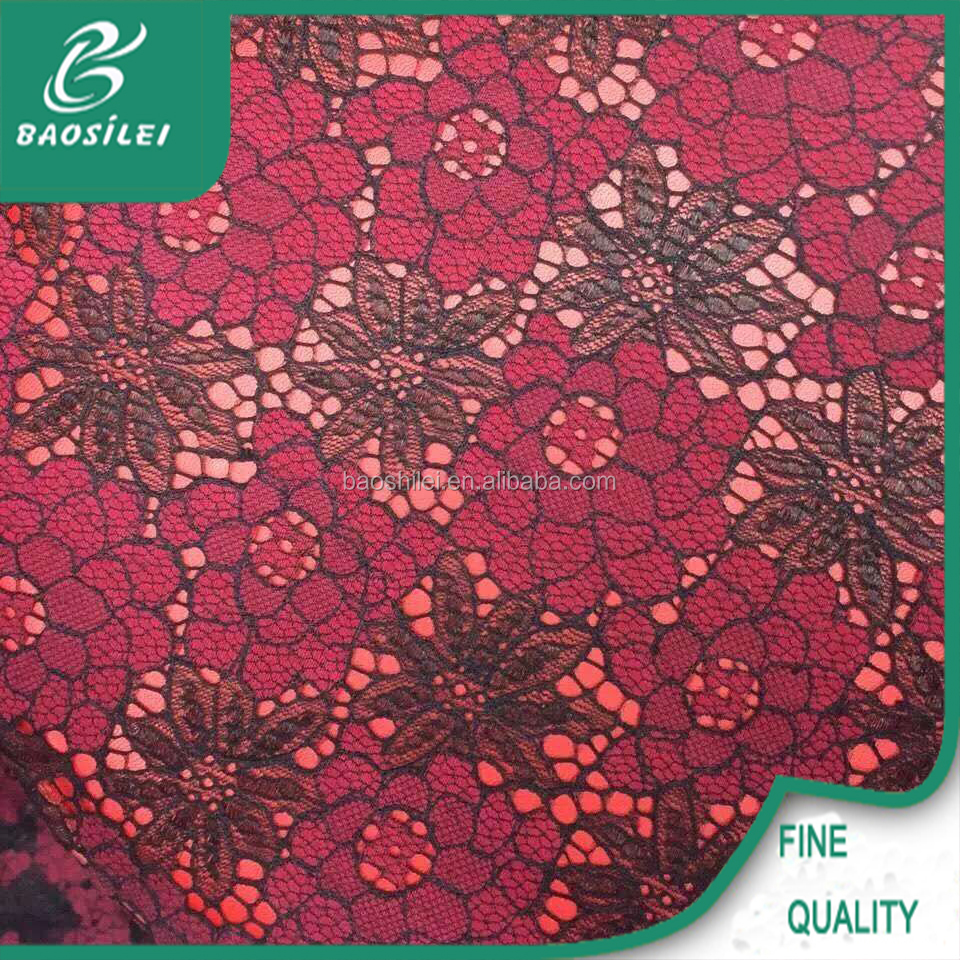 2017 wholesale imported red embroidered lace fabric african lace