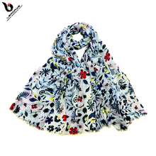Available Stock Viscose Printed Flower Muslim Scarf Hijab for Women