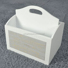 Rustic style mdf furniture white lacquered newspaper basket for living room furniture