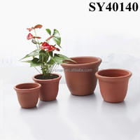 Round outdoor large plastic planter pot
