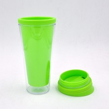 Easy drinking recycled plastic cup with lid , double wall drinking cup wholesale
