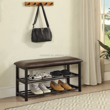 Metal durable modern Shoe storage Bench With 2 tier racks