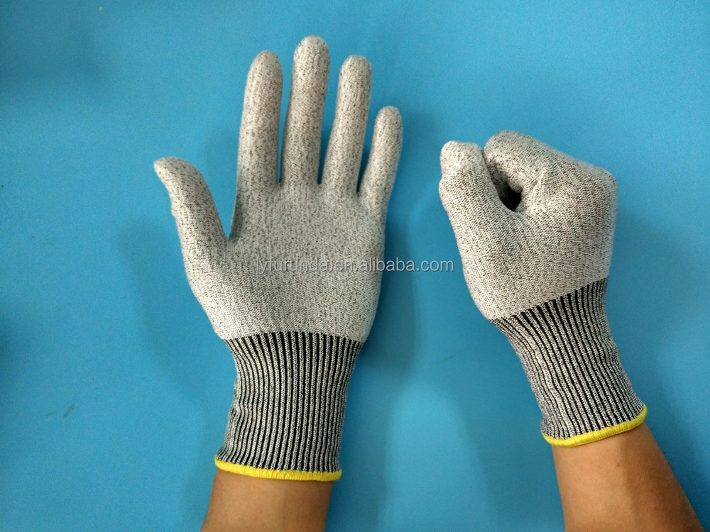 HDPE knitted PU coated cut resistant working glove abrasion resistant gloves