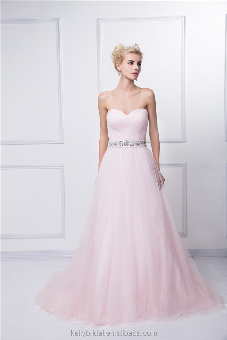 New arrival product custom made 2015 hot selling A-line pink sweatheart tulle elegant anti-wrinkle evening dress/wear
