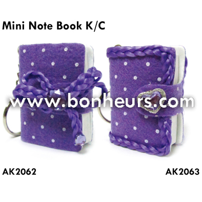 New Novelty Toy Purple Cloth Cover Memo Mini Note Book Keychain