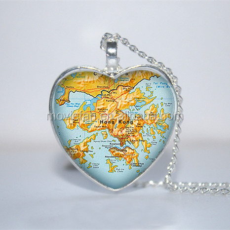 Hong Kong Map Pendant, Hong Kong Necklace, Hong Kong necklace Glass Photo Cabochon Necklace