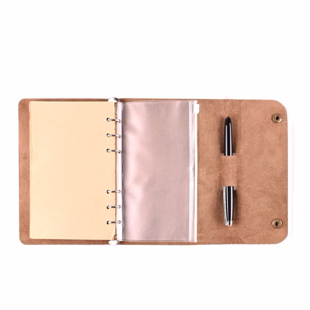 A6 notebook leather case cover with 6-ring binder, a6 size PVC pocket, pen slot and 80 sheets paper