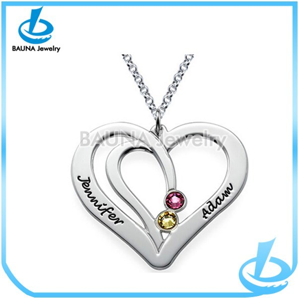 Engrave letter love heart necklace customized alloy neclace