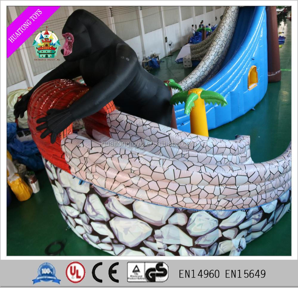 Giant wooden adventure theme Inflatable castle Cheap Inflatable enchanted forest with large apes for sale