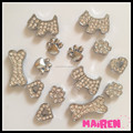 high quality CZ stones rhinestone 8mm slide dog charms for dog collar wholesale