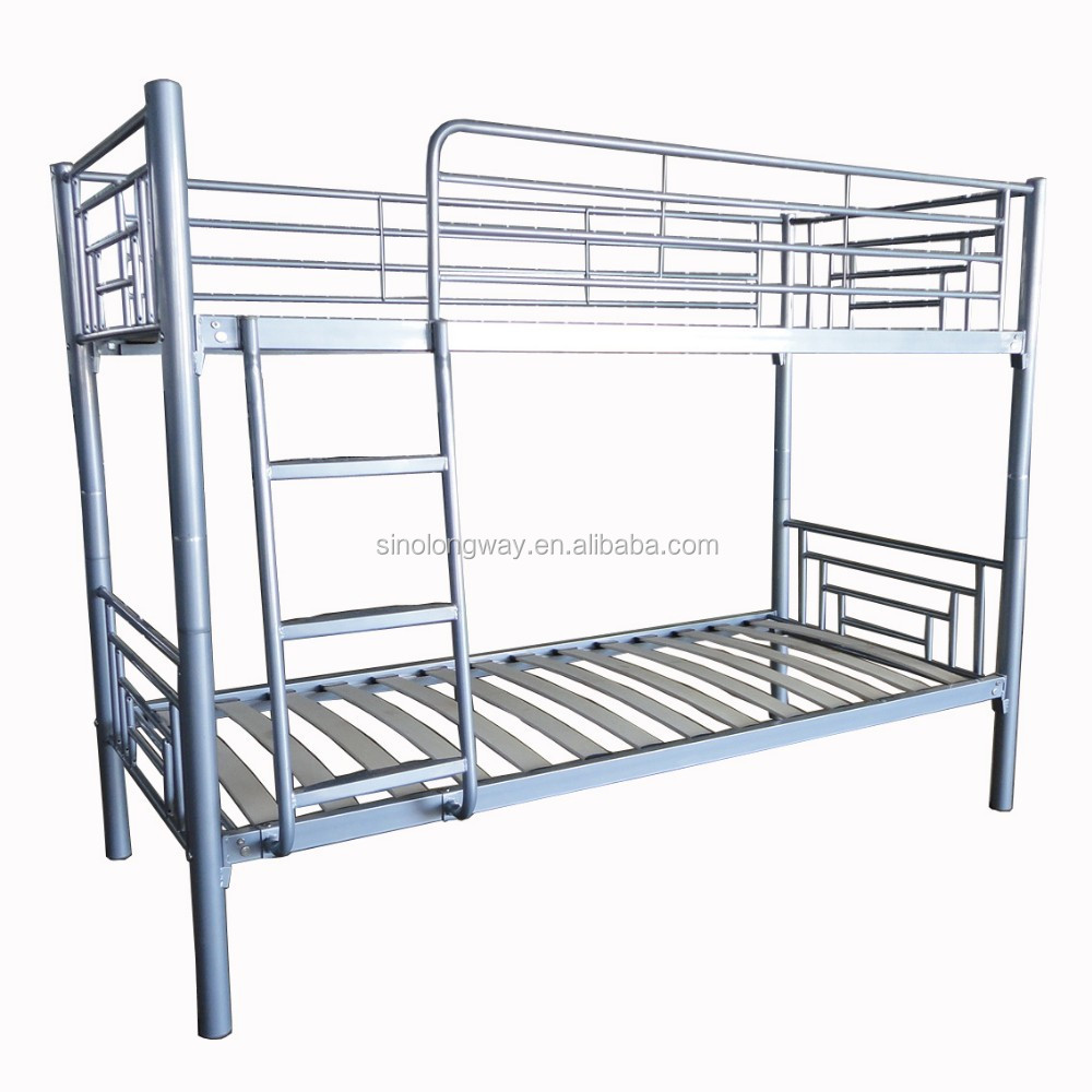modern metal bunk bed with wood slat base