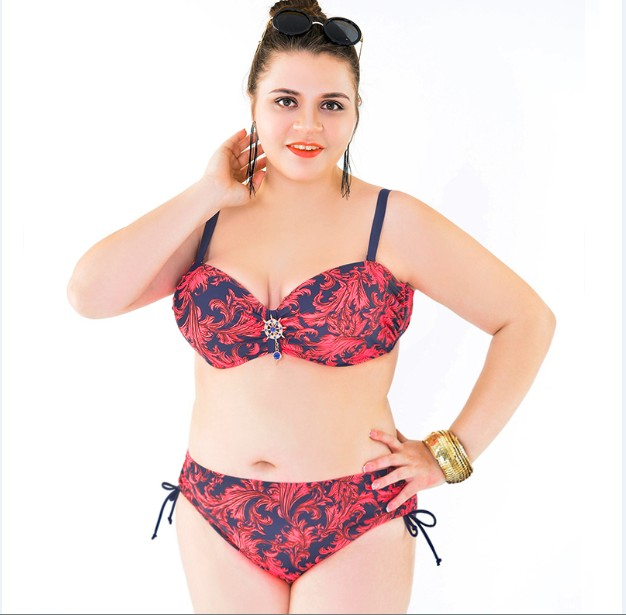 2016 big size Two-Piece Suits plus size swimwear beach sexy woman bathing suit
