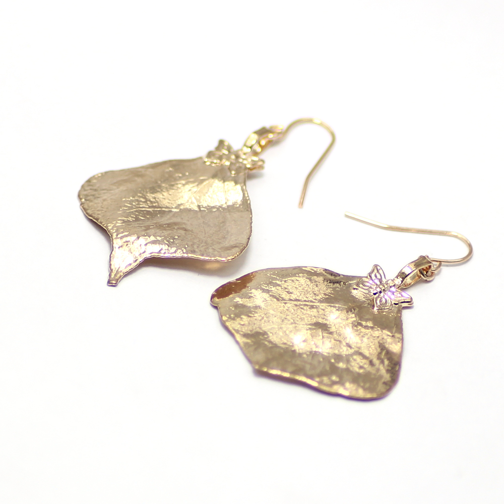 special natural leaves <strong>earrings</strong> with gold plating