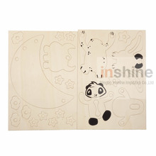 CU2283 DIY Panda craft , wood craft , wholesale unfinished wood for craft