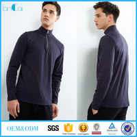 Wholesale In China Clothing 100% Cotton Navy Zip Front Long Sleeve Blouse For Men