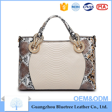China custom made OEM ODM elegant tote bag fake snake PU leather handbag