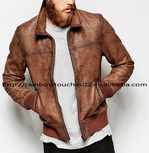 OEM custom high quality light mens soft thin leather jacket